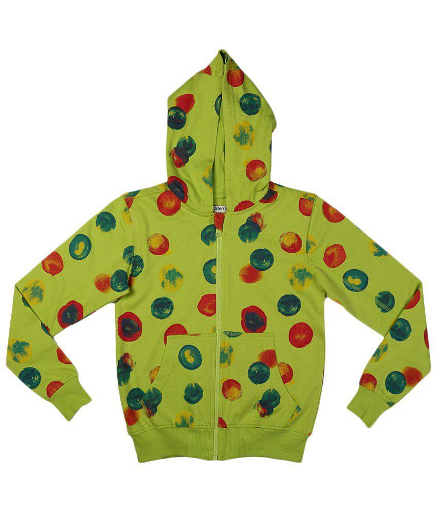 Allen Solly Green & Red Zippered Hooded Sweatshirt