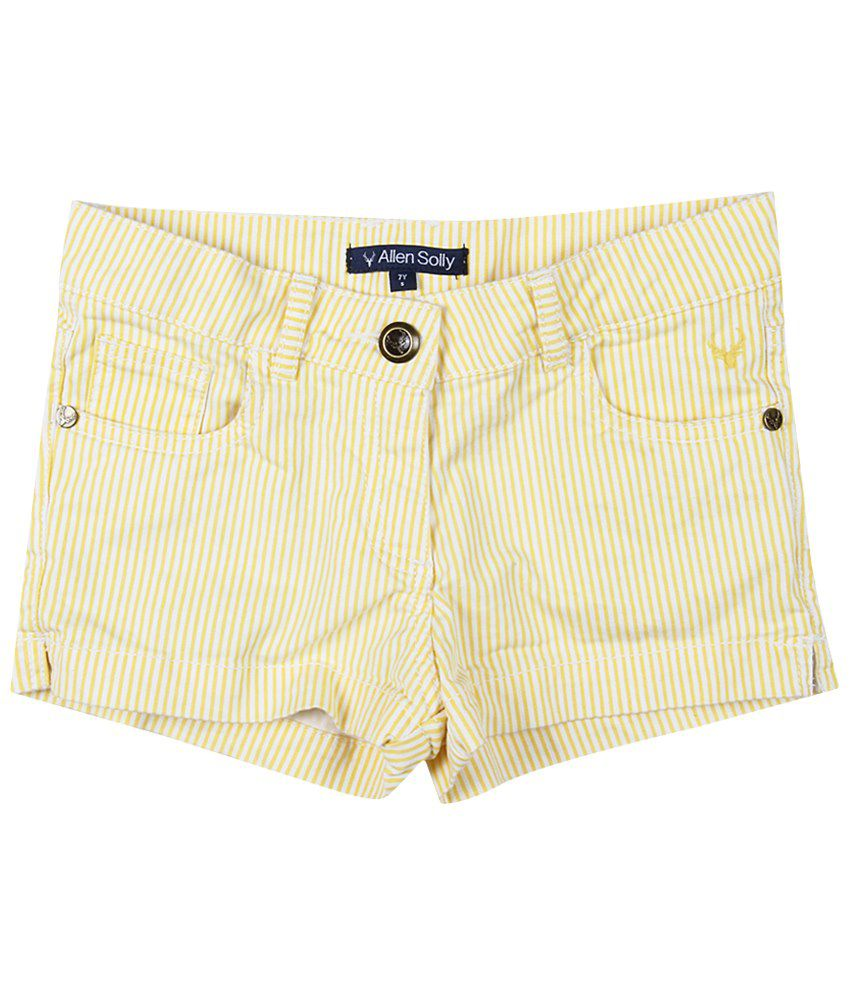 Allen Solly Yellow & White Cotton Shorts