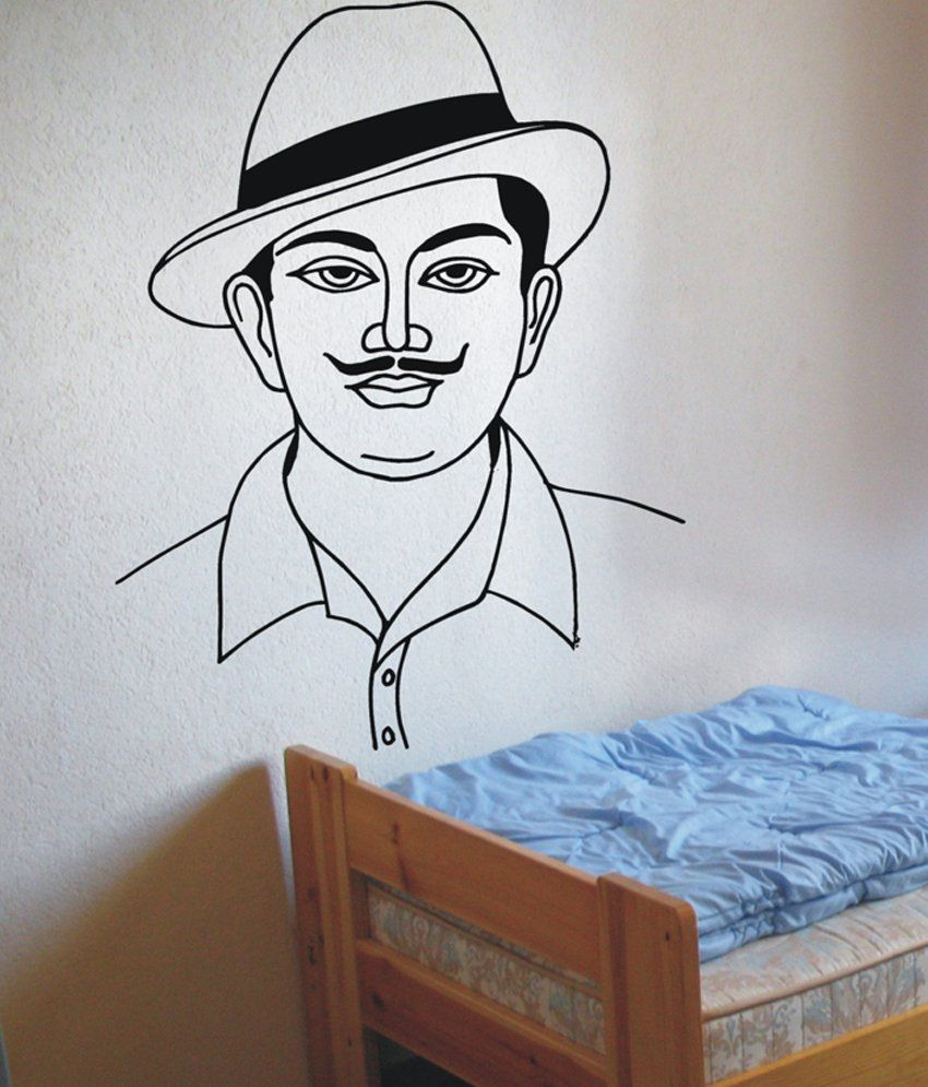 Decor villa black bhagat singh wall sticker buy decor villa black bhagat singh wall sticker online at best prices in india on snapdeal