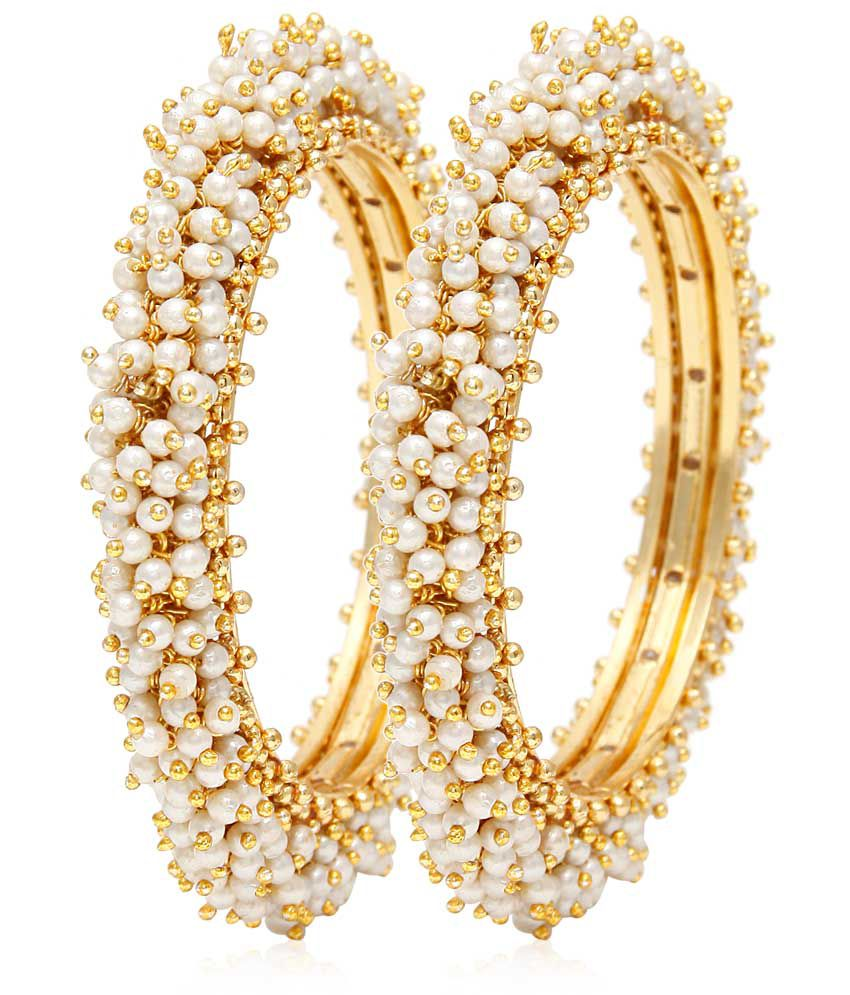 Jewels Galaxy Traditional Pearl Bangles   Set Of 2