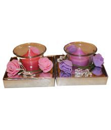 Fragrance Concoction Pink & Purple Candle With Cup Pack Of 2