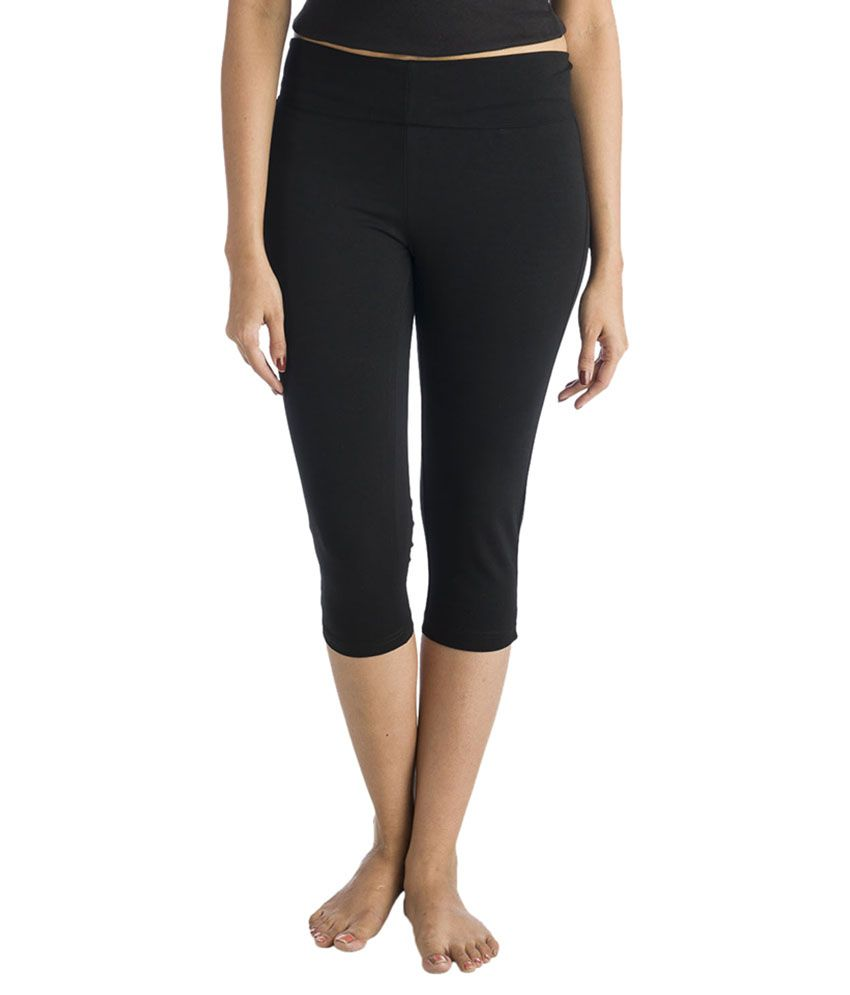 Black Yoga Capris with Foldover Waistband