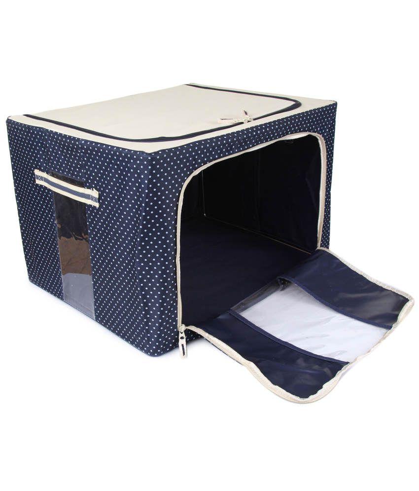 UberLyfe Foldable Cloth Storage Box with Steel Frames Large (Blue ...