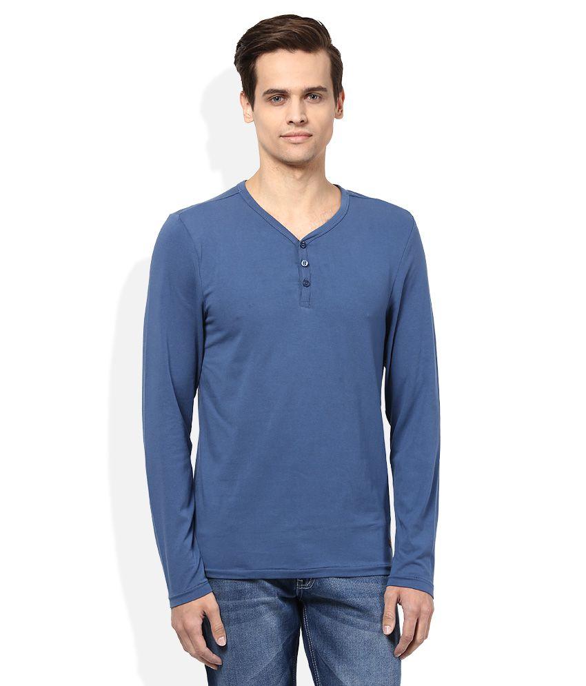 Jack & Jones Blue Henley Neck Full Sleeves Solids T-Shirt
