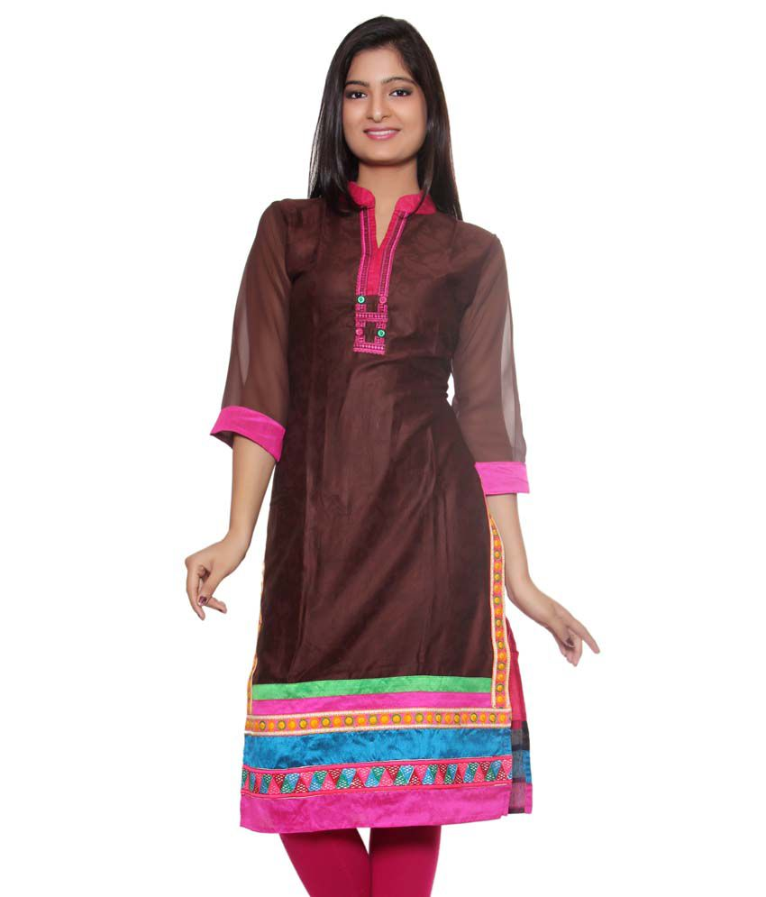 Style Junction Pink And Brown Cotton Kurti' ).substring(1)