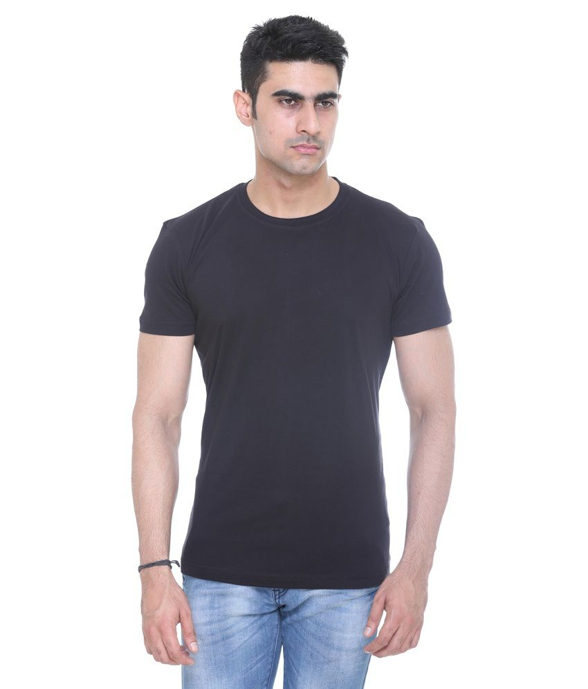 V3squared Black Cotton Blend T-shirt