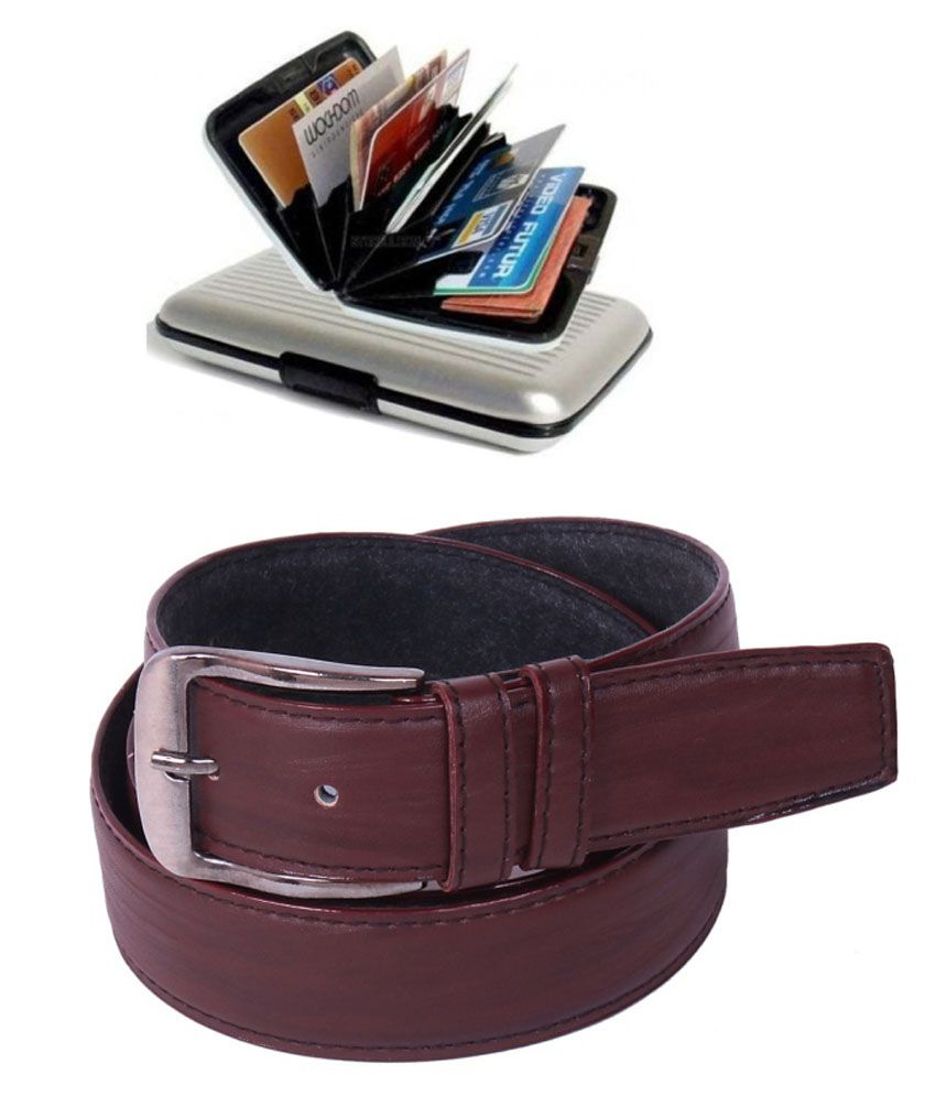 Calibro Combo Of Brown Formal Belt And Silver Card Holder For Men