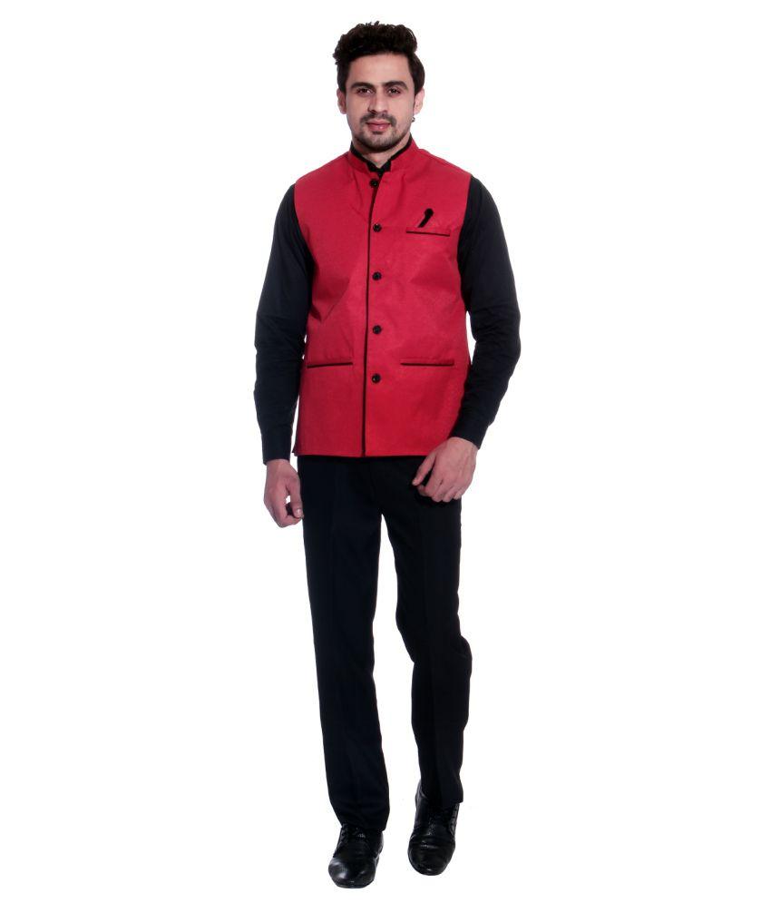 ... Calibro Red Valvet Nehru Jacket With Stylish Cotton Pink Shirt ...