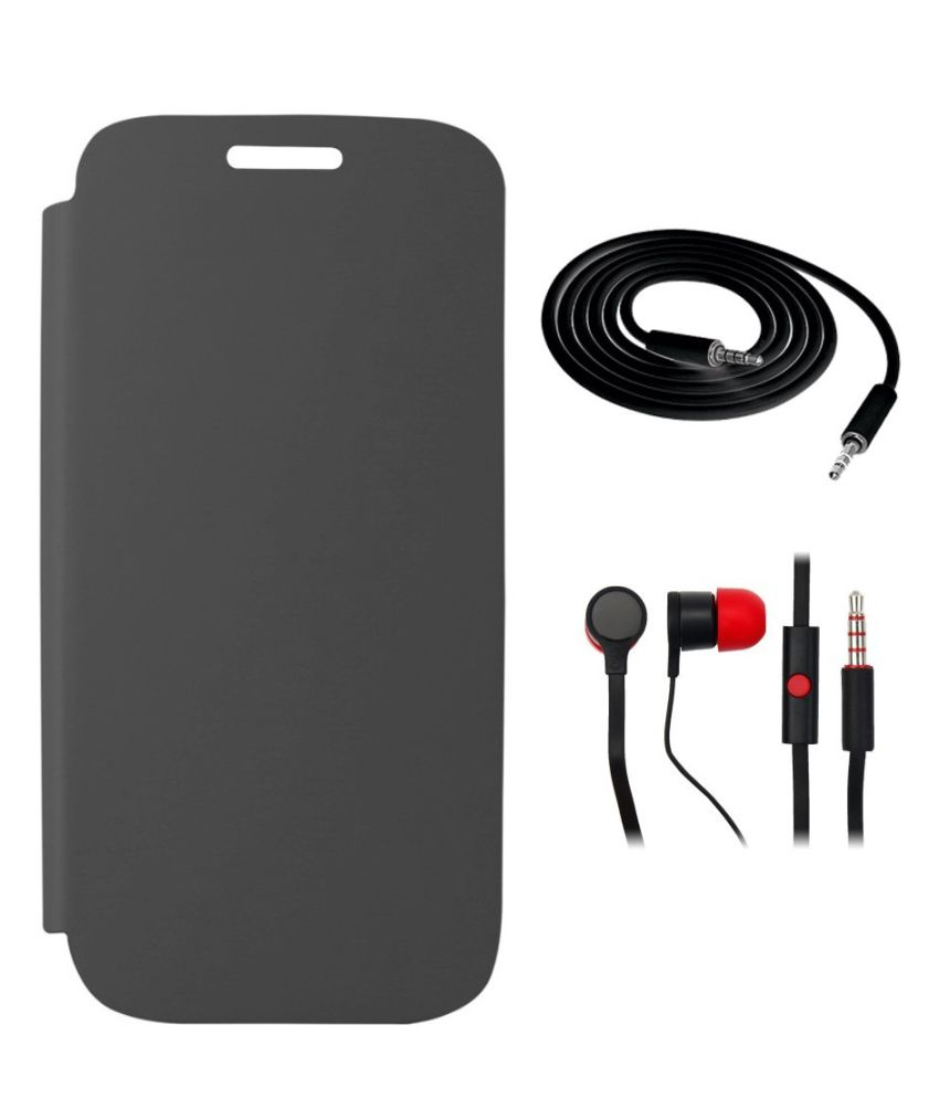 Yoshata Flip Cover For Micromax Canvas 5 E481 - Black with Aux Cable And 3.5 Earphones