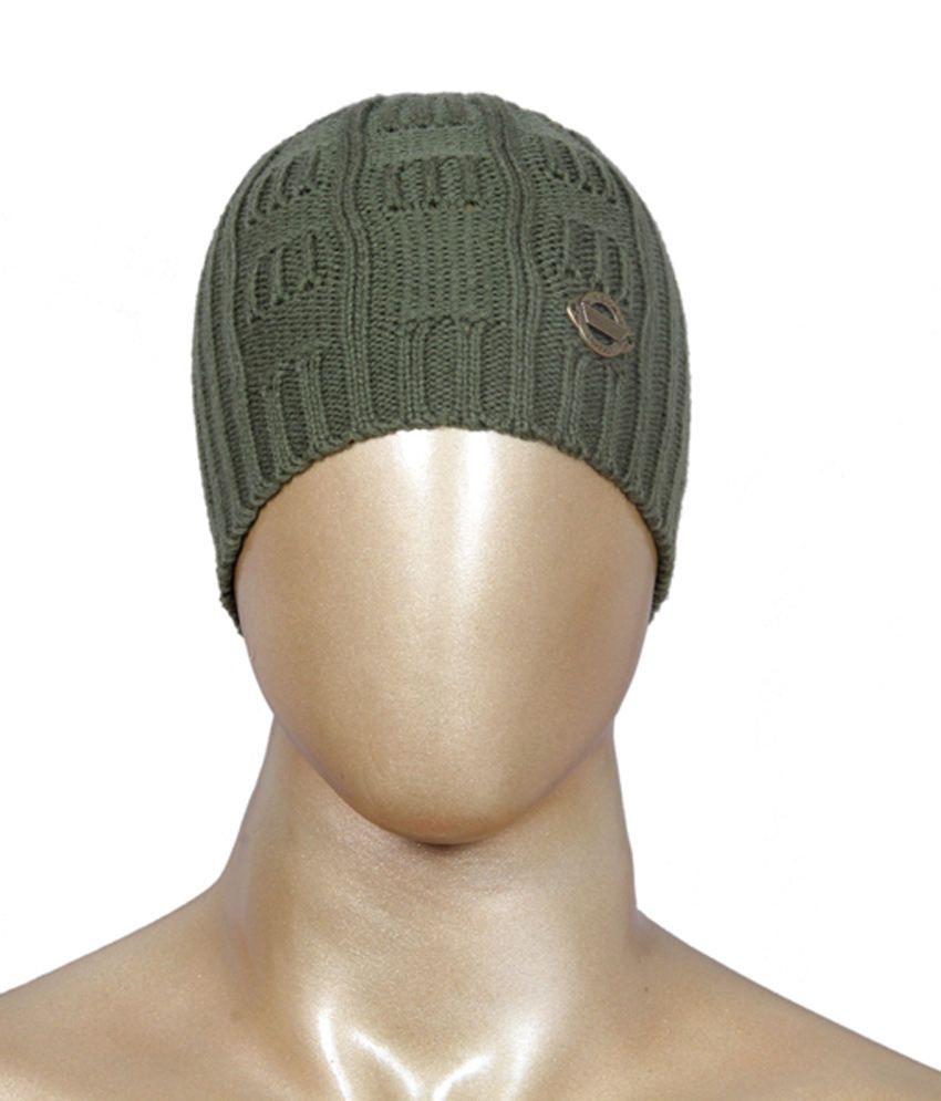 Jm Green Woollen Skull Cap For Men