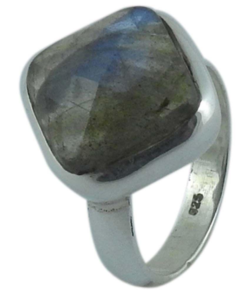 Miska Silver 925 Sterling Silver Natural Labradorite Stone Ring
