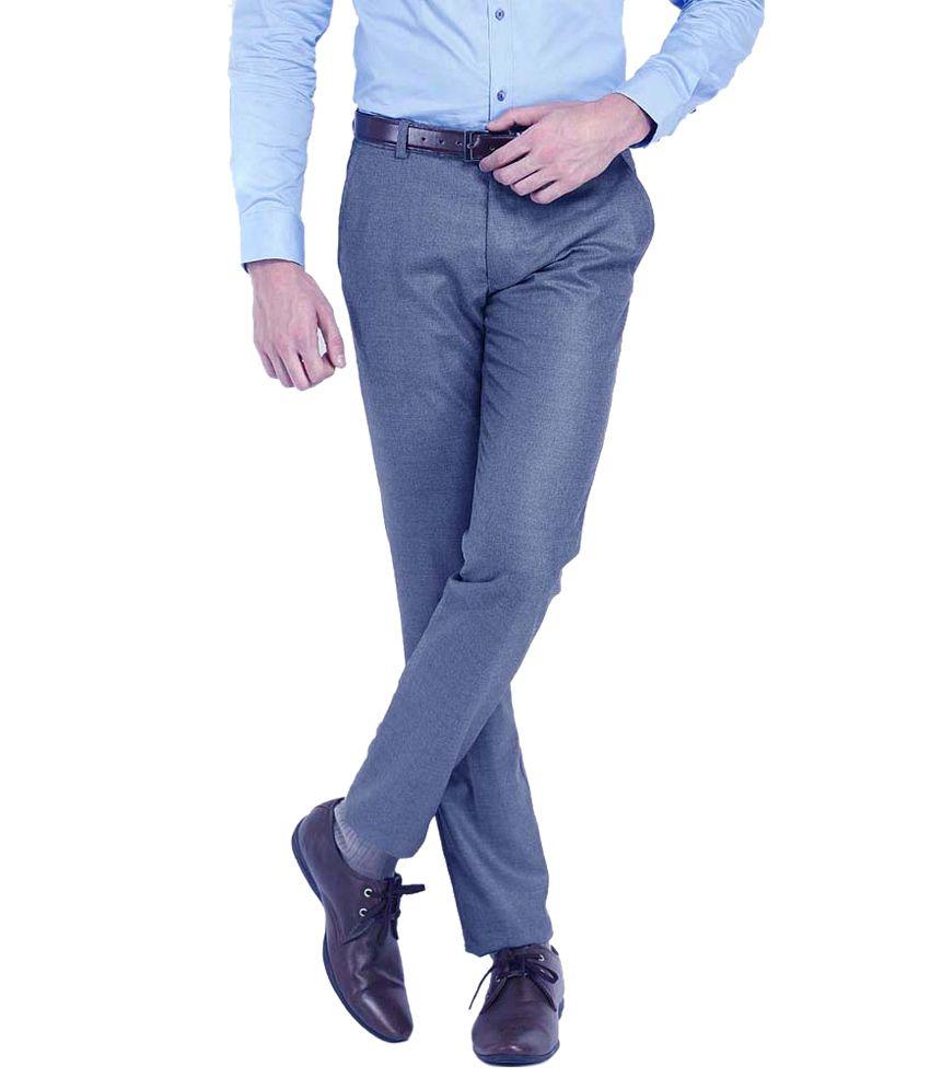 Ad & Av Blue Regular Fit Formal Flat Trouser