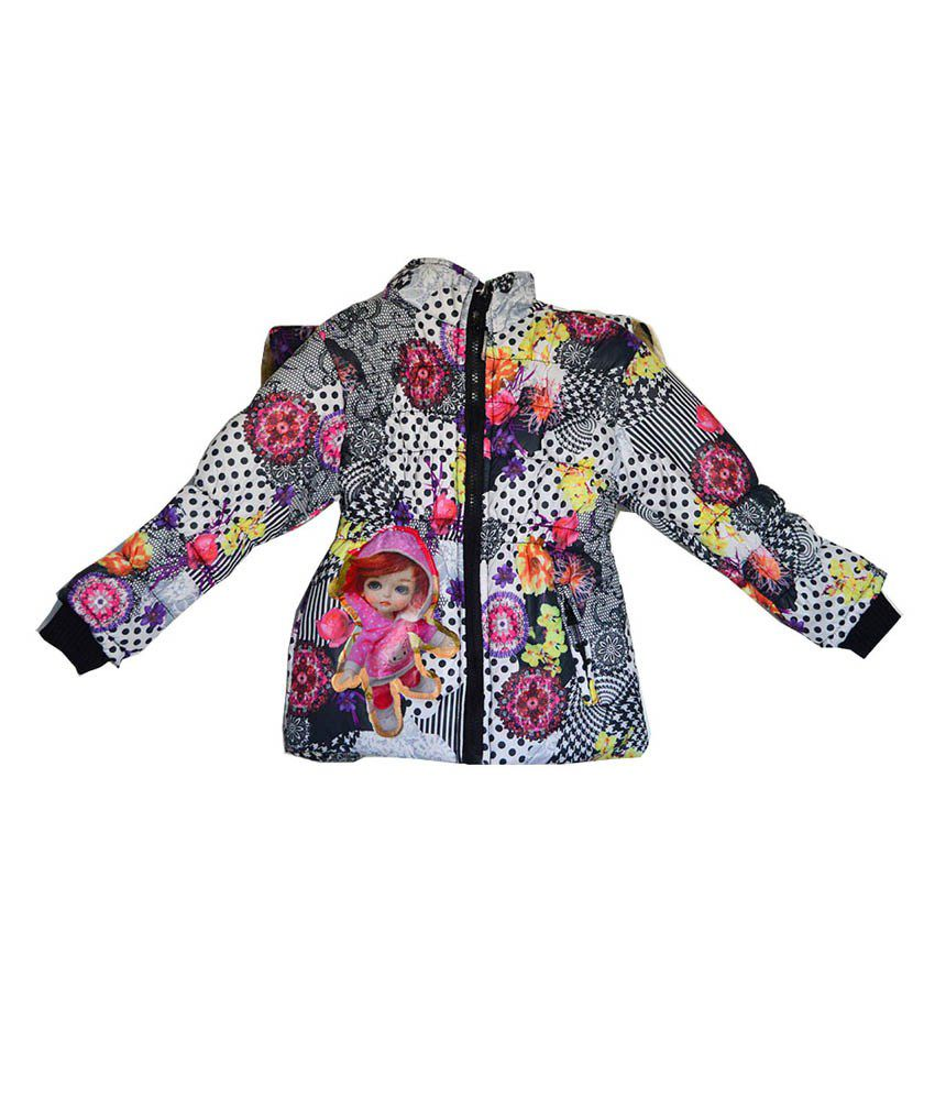 London Girl Black Floral Hooded Jacket for Girls