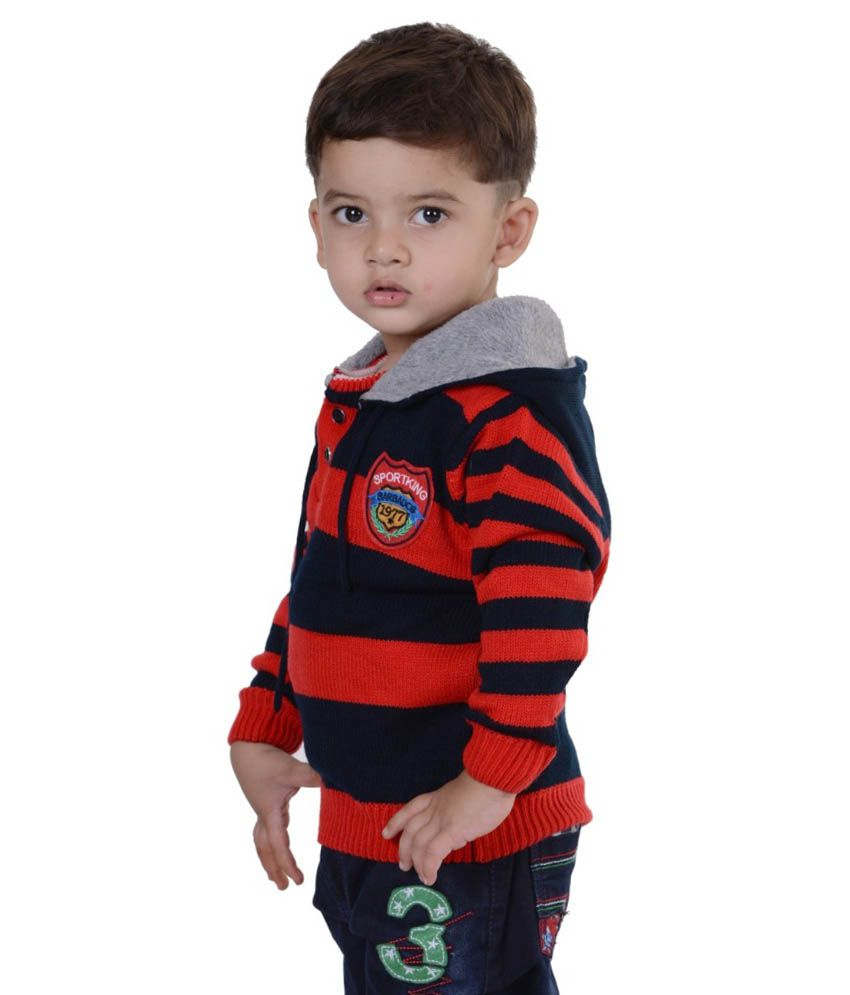 8ecc68bb528d Sportking Full Sleeves Red And Black Color Stripes Sweater For Kids ...