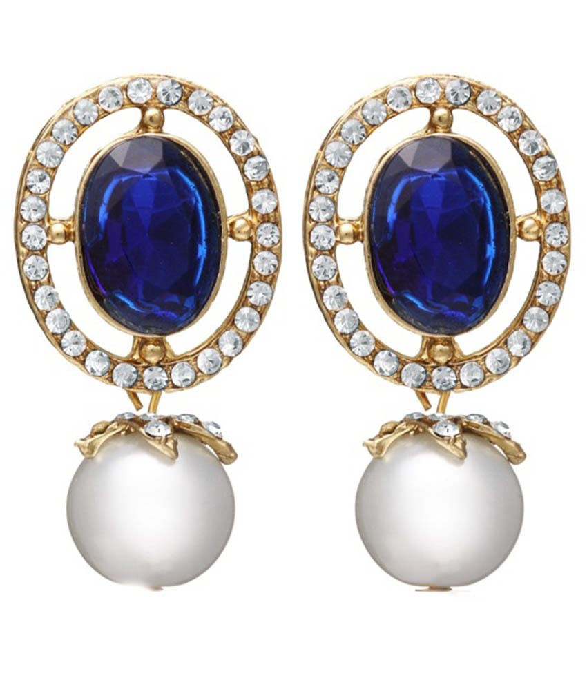 Zaveri Pearls Blue Alloy Drop Earrings