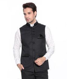 Psk Black Cotton Blend Nehru Jacket
