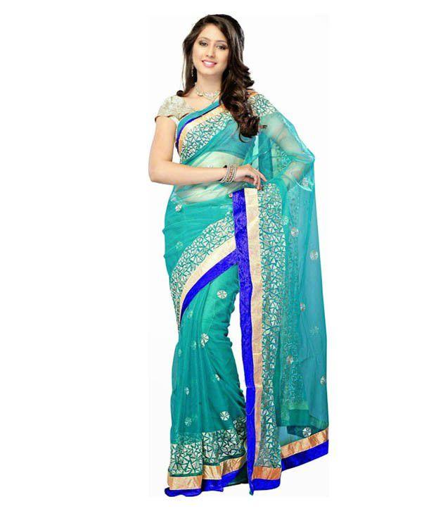Bhuwal Fashion Blue Net Saree