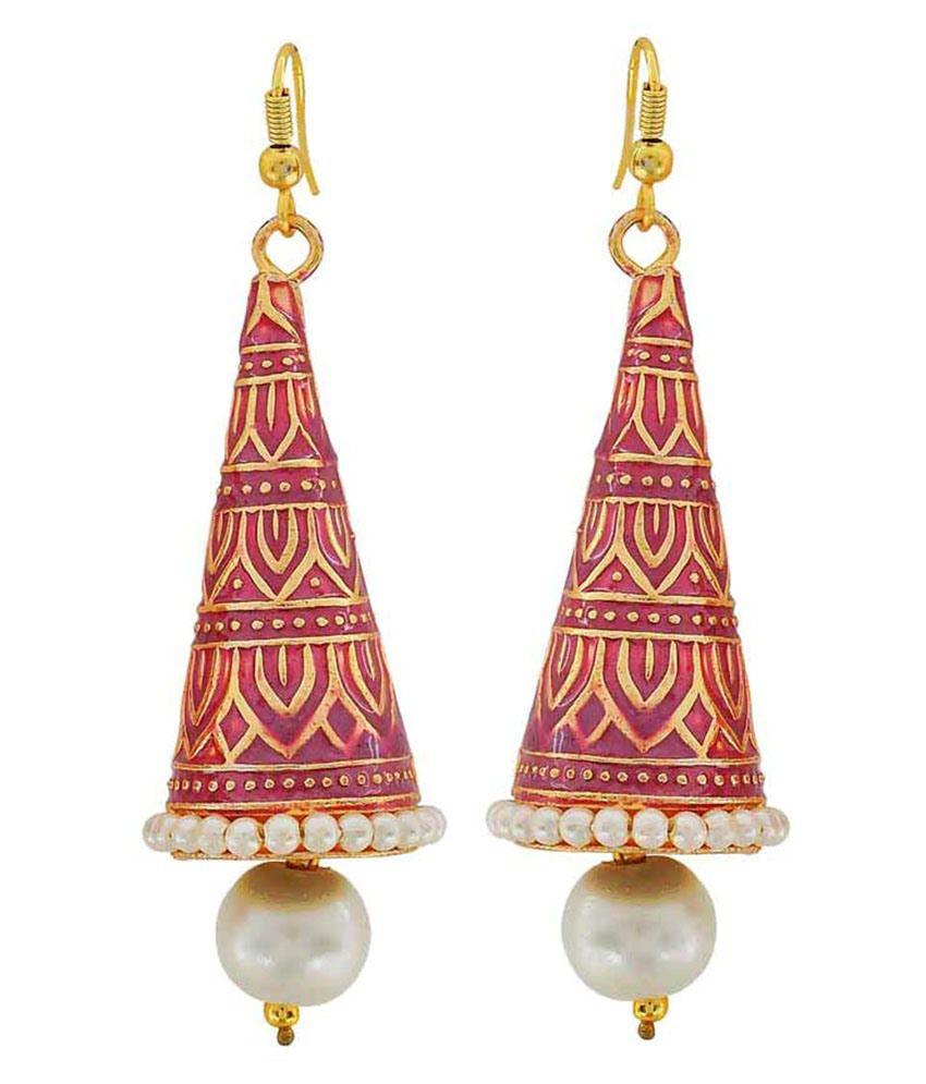Maayra Red Brass Jhumki Earrings