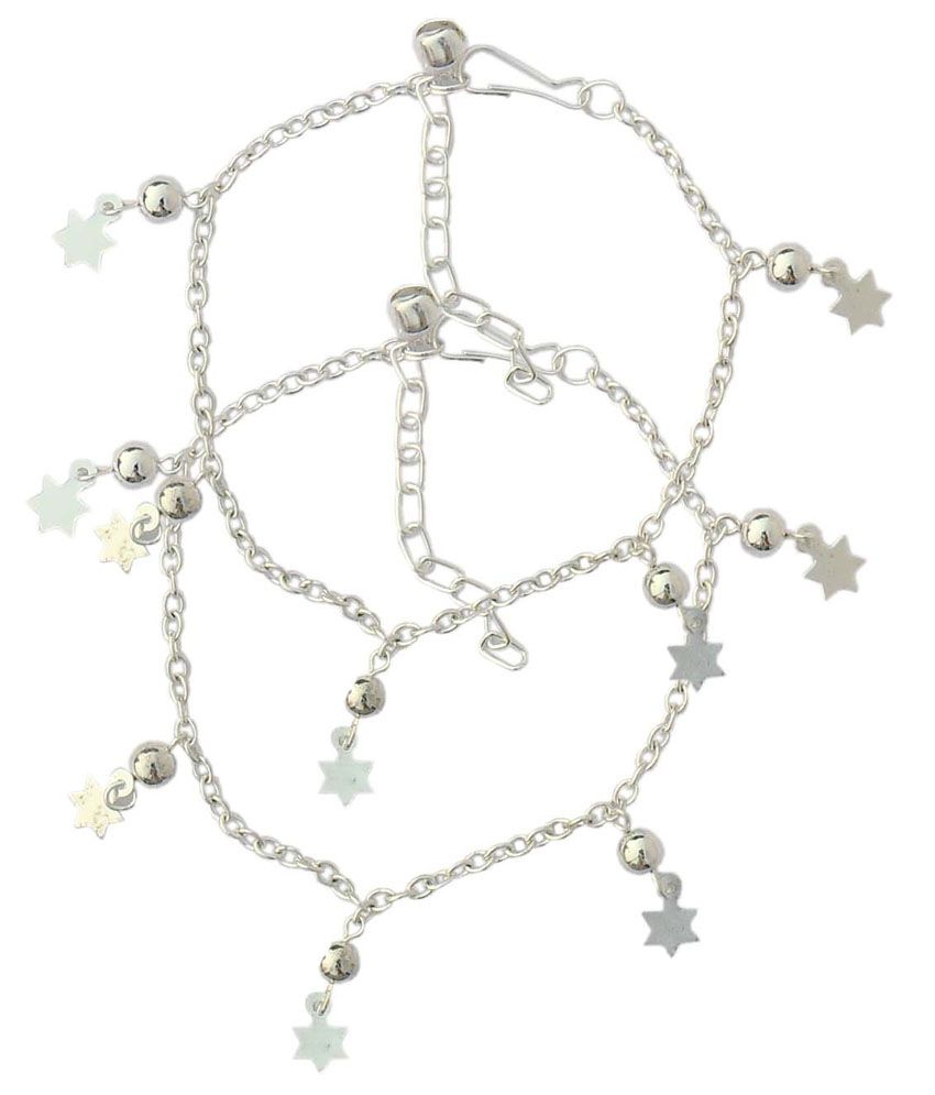 Beadworks Silver Alloy Star Charm Pair Of Anklets