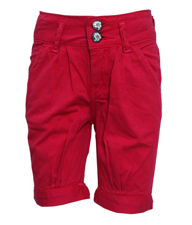 Tales & Stories Red Solids Cotton Capris