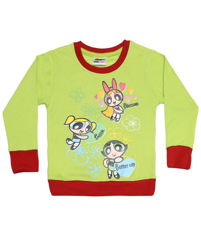 Power Puff Girls Green & Red Full Sleeve Sweatshirt