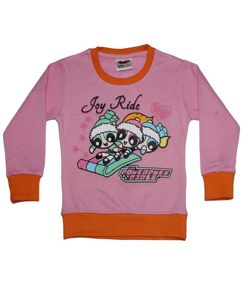 Power Puff Girls Pink & Orange Full Sleeve Sweatshirt