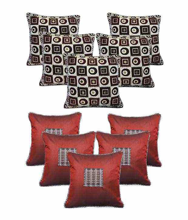 Royalina Red Polyester Cushion Cover - Buy 5 Get 5
