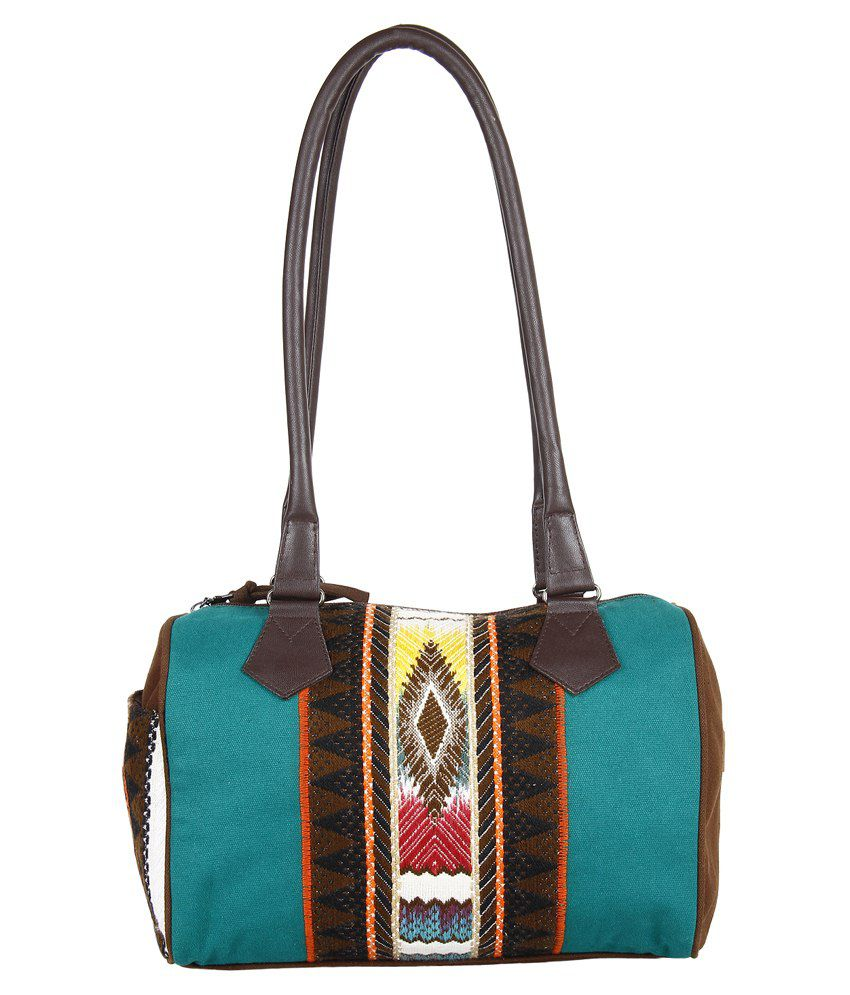 Anekaant Canvas Shoulder Bag-brown & Turquoise
