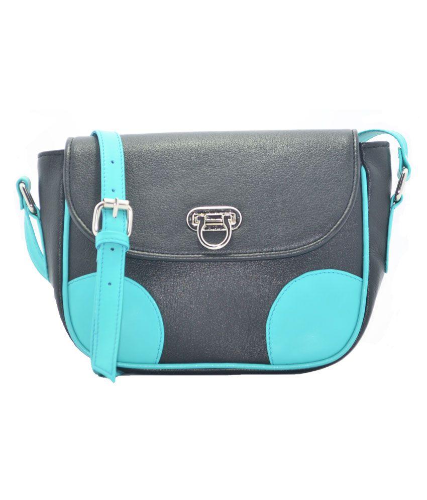 Zofey Black And Turquoise Sling Bag