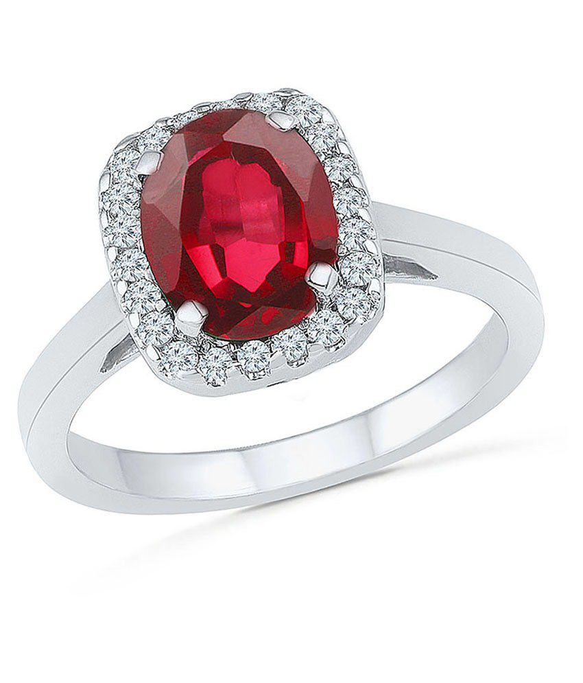 Radiant Bay Silver & Maroon 18kt Gold Ring