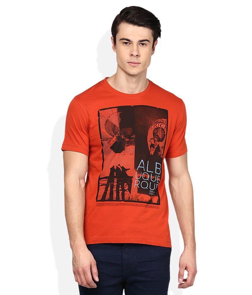 T-base Orange Round Neck T Shirt