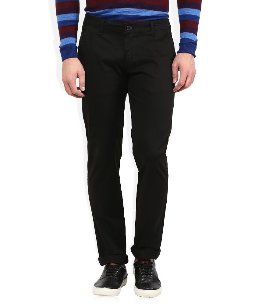 American Swan Black Slim Fit Casuals Chinos