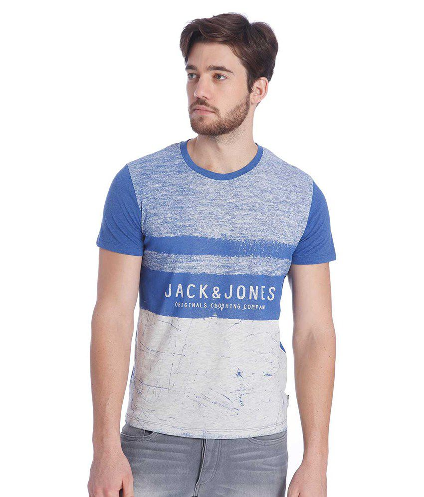 Jack & Jones Blue Half Sleeves T-Shirt