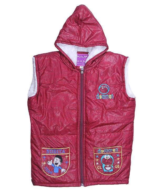 Adi & Adi Maroon Padded Jacket For Girls