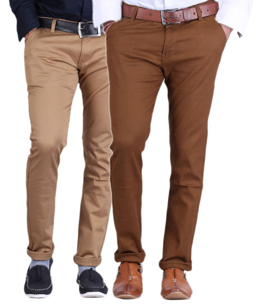 Ansh Fashion Wear Brown Regular Fit Casual Combo of 2 Chinos Trouser