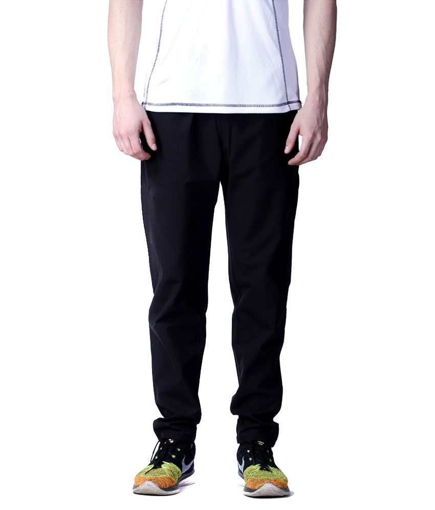 Atheno Black Polyester Trackpant
