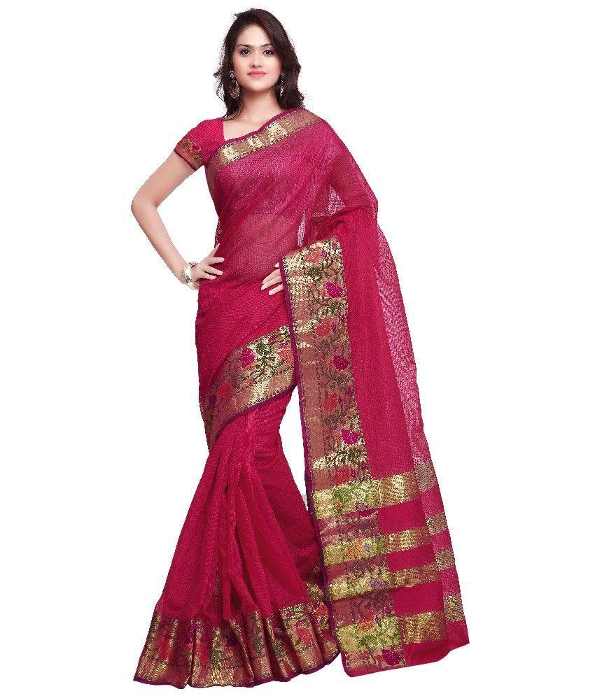Inddus Pink Chanderi Saree