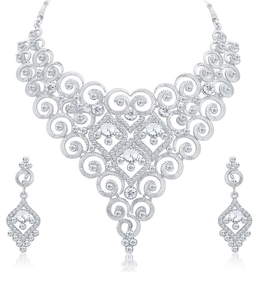 Sukkhi White Alloy Bridal Necklace Set