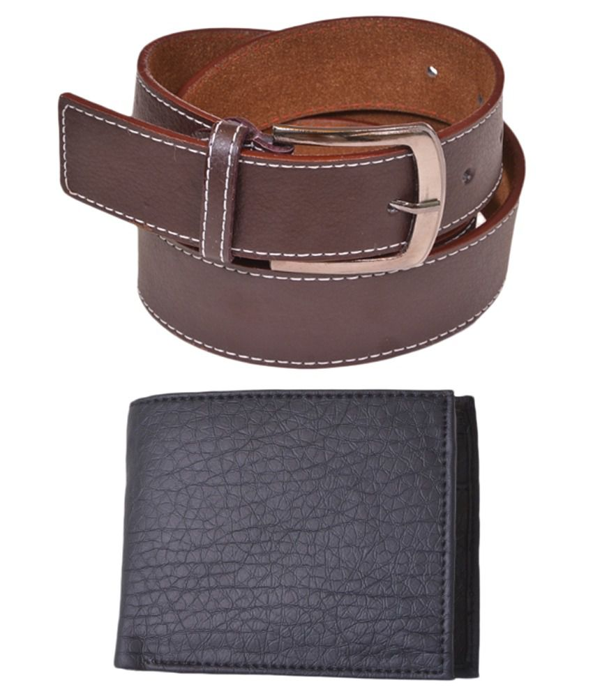 Daller Brown Pin Buckle Belt for Men with Wallet
