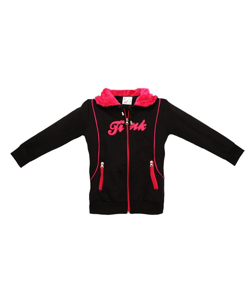 Eimoie Black Full Sleeve Fleece Jacket