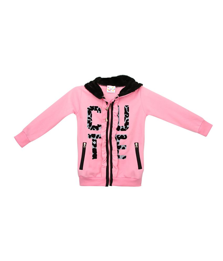 Eimoie Pink Full Sleeve Fleece Jacket With Hood