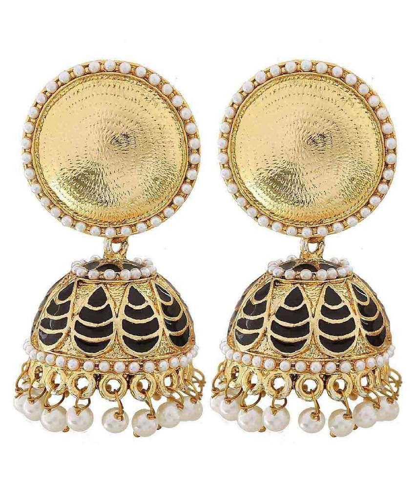 The Jewelbox Black Designer Jhumki Earrings