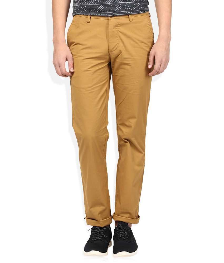Color Plus Khaki Solid Flat Front Trousers
