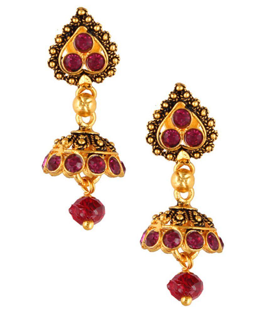 Fashionaya Multicolour CZ Designer Drop Earrings