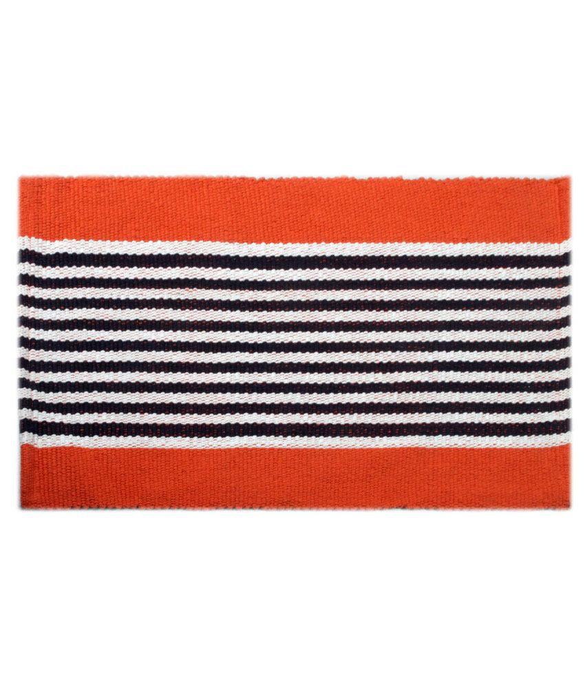 Saral Home Orange Cotton Floor Mat