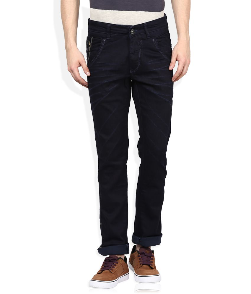 Spykar Navy Raw Denim Slim Fit Jeans
