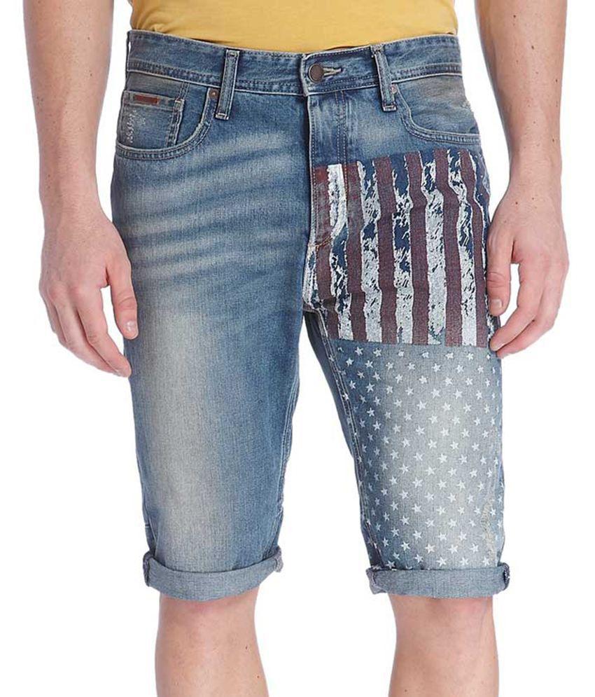 Jack & Jones Blue Printed Shorts