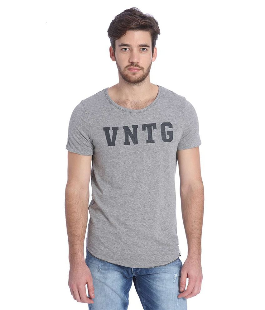 Jack & Jones Grey Half Sleeves T-Shirt