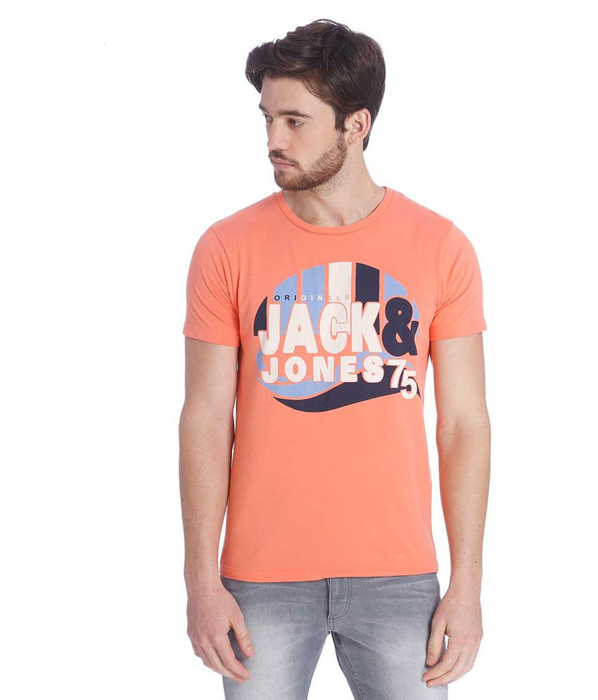 Jack & Jones Orange Half Sleeves T-Shirt