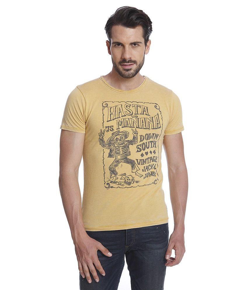 Jack & Jones Yellow Half Sleeves T-Shirt